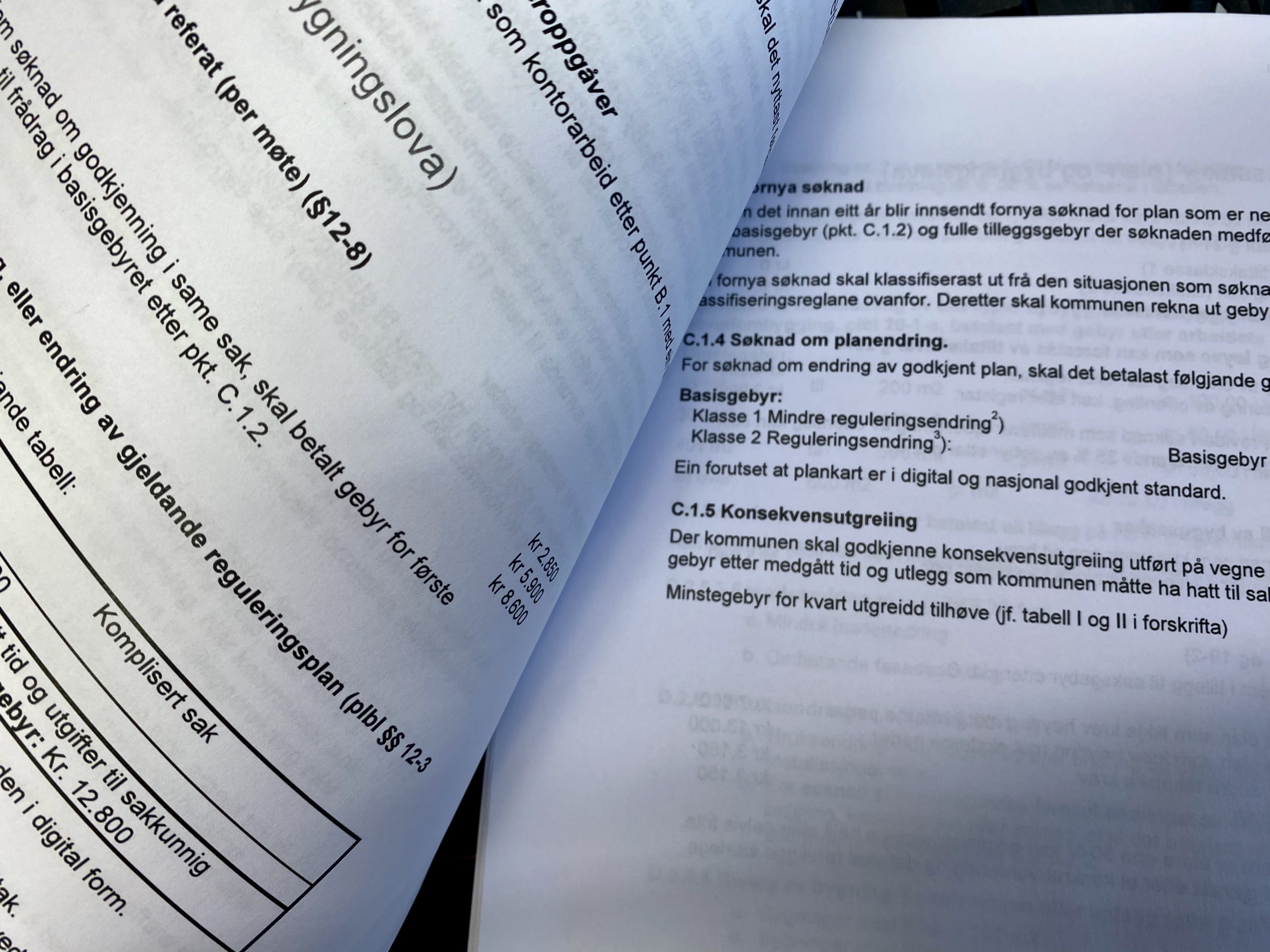 Dokument som syner gebyrregulativ for kommunen