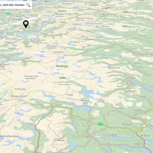 Kartutsnitt av Ullensvang kommune. Foto.
