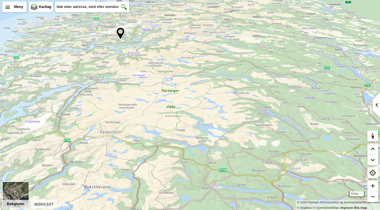 Kartutsnitt av Ullensvang kommune