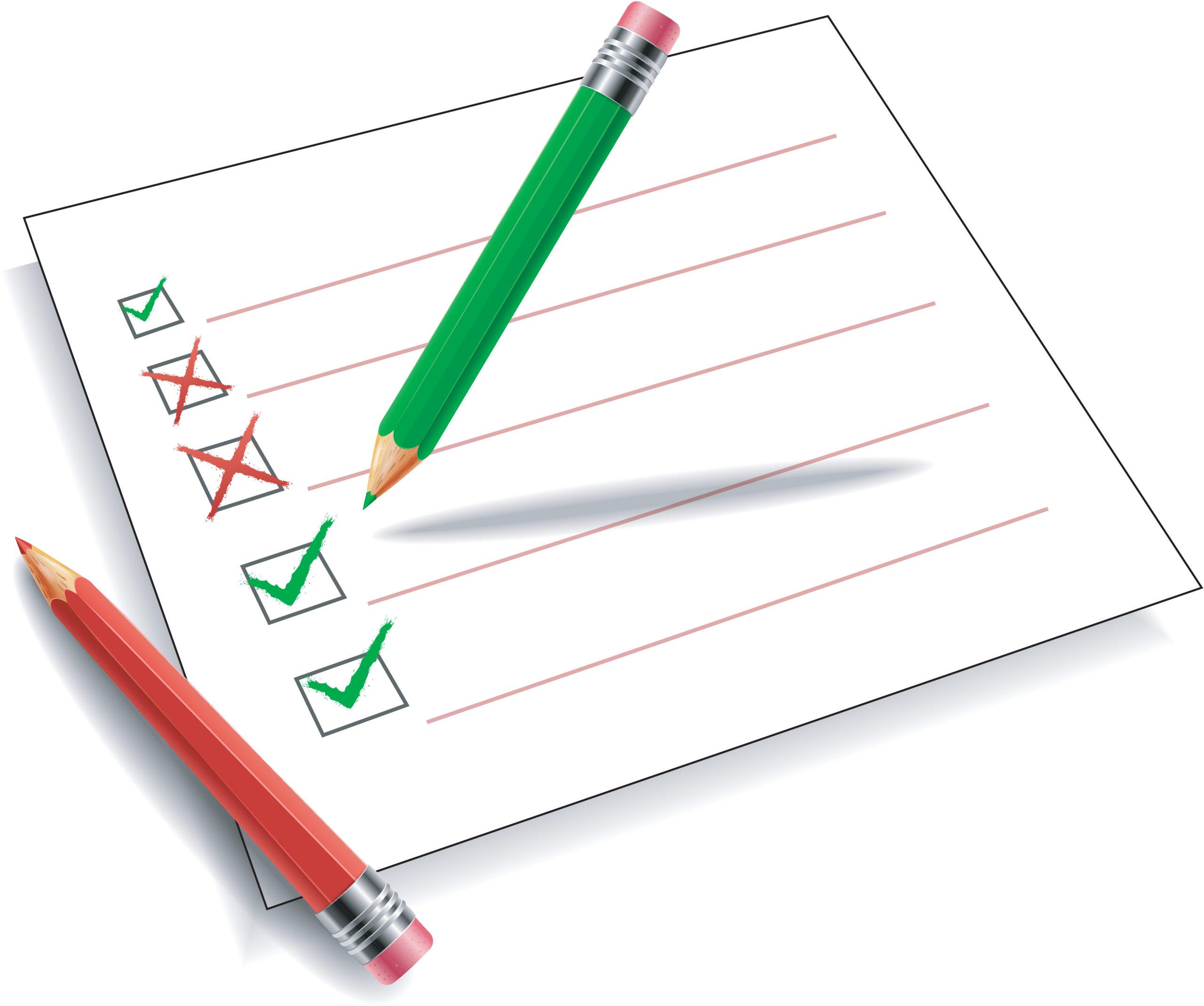 Illustrasjon av checkliste med to blyanter og kvit bakgrunn.