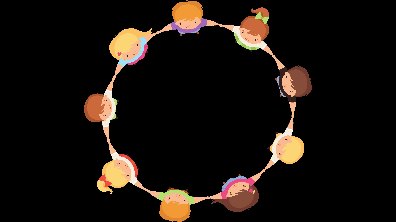 Illustrasjon av barn som står i sirkel og held hender. Illustrasjon.