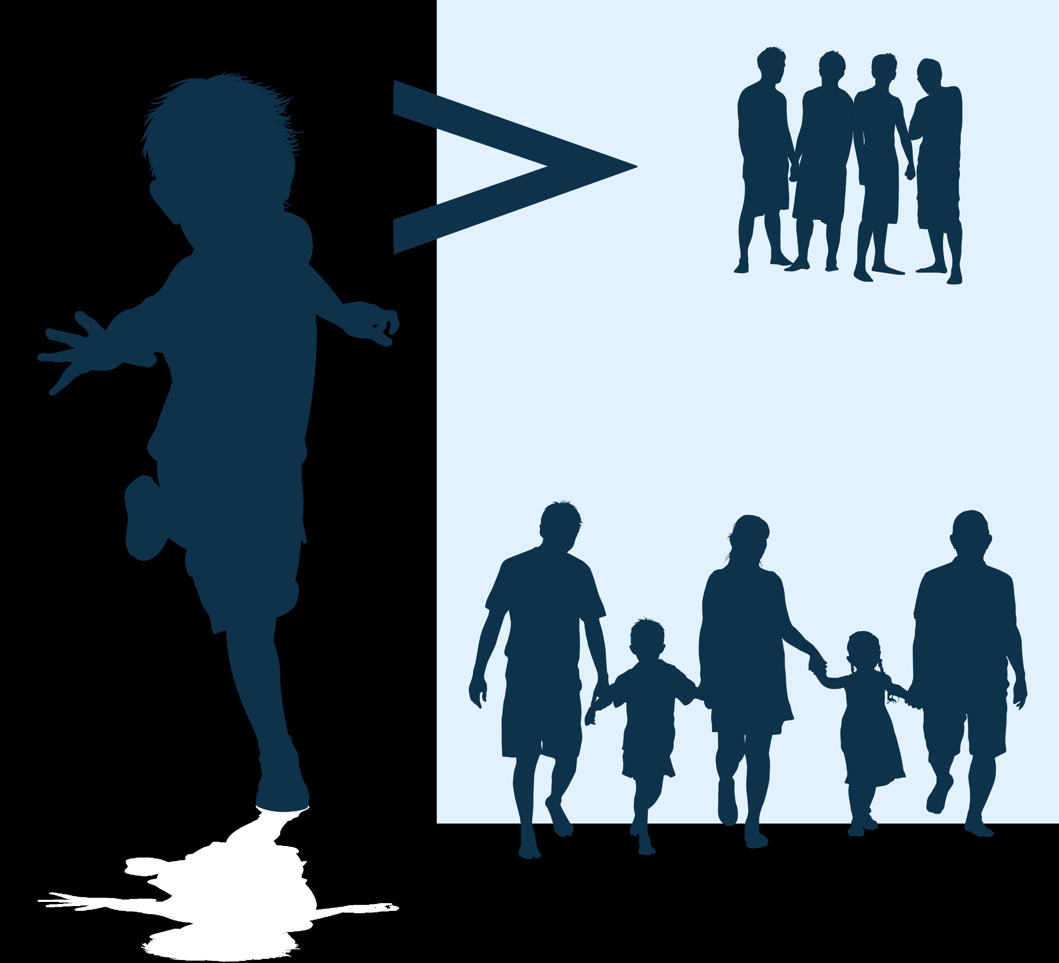 Illustrasjon i blått av gut som spring, ungdommar som står å henger og familie som hald hender. Illustrajson.og