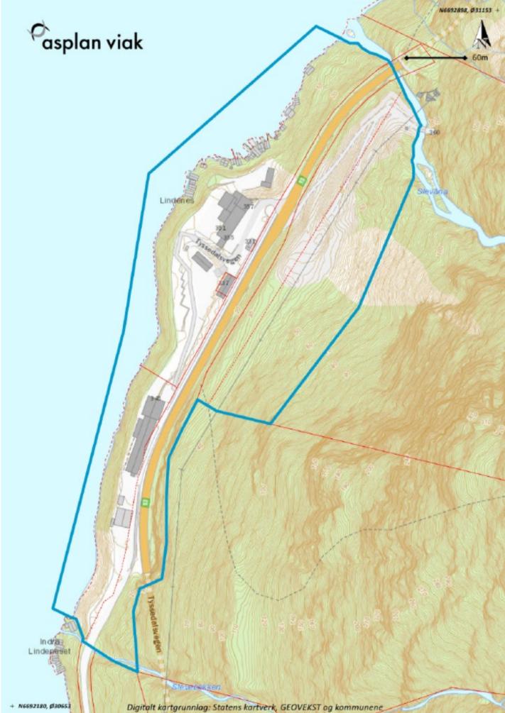 Figur 1. Kart som viser forslag til plangrense.